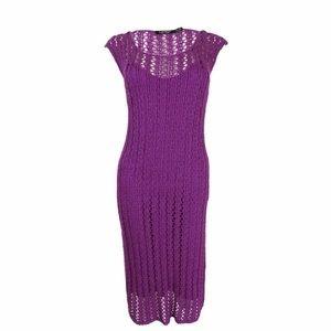 Lauren Ralph Lauren purple open knit sweater dress
